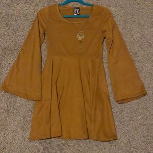 NWOT Brown Fit and Flare Dress With Bell Sleeves